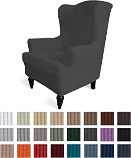 Easy-Going Stretch Sofa Slipcover 1-Piece Sofa Cover Furniture Protector Couch Soft with Elastic Bottom Anti-Slip Foam Kids, Spandex Jacquard Fabric Small Checks(Wing Chair,Dark Gray)