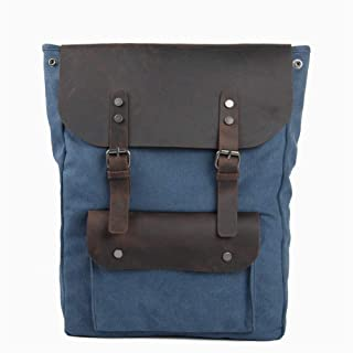 Casual Style Canvas Leather Trekking Rucksack Outdoor Practical Large Hiking Backpack (Color : Blue, Size : L:33 * 10 * 45cm)