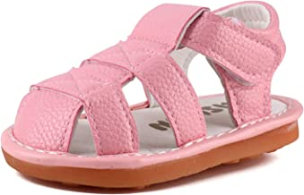 Baby Boy Girl Summer Infant Squeaky Sandals Premium Rubber Sole Closed-Toe Non-Slip Shoes..