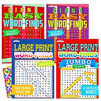 Word Find Puzzle Books for Adults Seniors - Set of 4 Jumbo Word Search Books with Large Print  Over 380 Pages Total with Bookmark