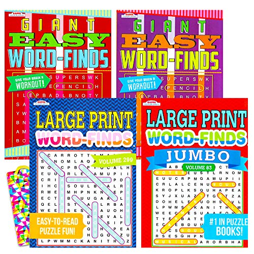 Word Find Puzzle Books for Adults Seniors - Set of 4 Jumbo Word Search Books with Large Print (Over 380 Pages Total with Bookmark)