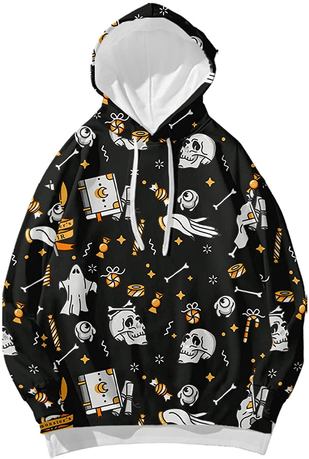 Womens Halloween Graphics Hoodie Round Neck Cute Printed Blouse Tops Festival Casual Long Sleeve Pullover