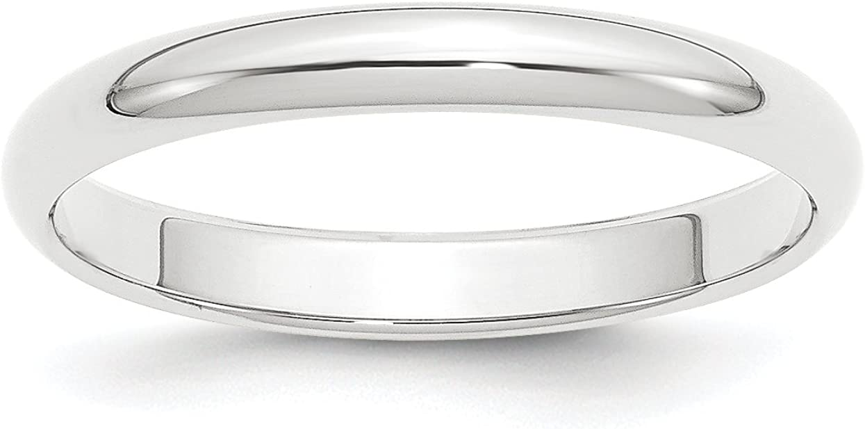 Solid Platinum 3 mm Classic Rounded Wedding Band Ring