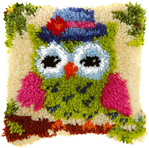 Kits de Ganchillo Kit de gancho de pestillo Latch Hook Kit DIY Bordado Cojín de cojín Conjunto Patrón de búho encantador Patrón de costura Hilo de crochet Kit de punto de cruz para niños Adultos Decor