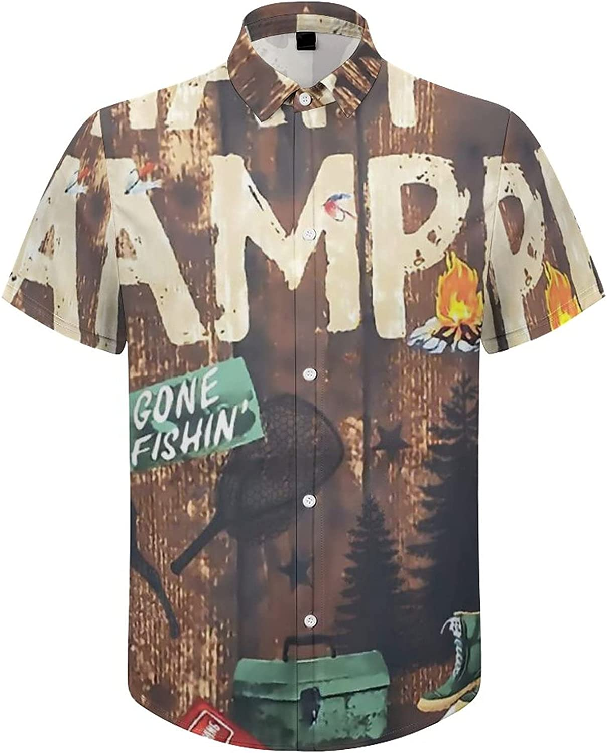 Mens Button Down Shirt Happy Camper Trout Fish Deer Forest Casual Summer Beach Shirts Tops