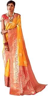 Yellow Ethnic Weaving Silk Indian Silk Saree Zari Contrast Pallu Festival Sari Women Blouse 8724