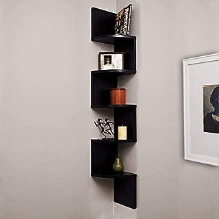 Dime Store Engineered Wood Wall shelf corner shelf Home decor item ,Glossy Finish ,Set Of 5,Black