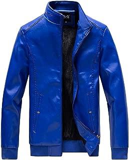 wuliLINL Men's Casual Solid Color Lightweight Zipper Stand Collar Jacket Windbreaker Faux Leather Coat