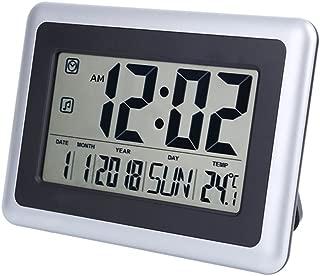 UMEXUS Large Display Digital Wall Clock Desk Alarm Clock with Calendar & Temperature Battery Operated Decoration Clock for Kitchen Bathroom Bedroom Office School (Silver)