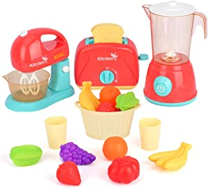 Aomola Kitchen Appliances Toy,Kids Kitchen Pretend Play Set with Mixer, Blender, Toaster Play Foods and Accessories,Great Learning Gifts for Toddlers Kids Boys Girls,Play Kitchen Set for Kids Ages 4-8