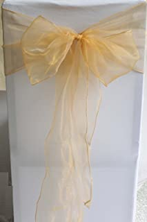 Set of 10 Chair Bows Sashes Tie Back Decorative Item Cover ups For Wedding Reception Events Banquets Chairs Decoration Gold