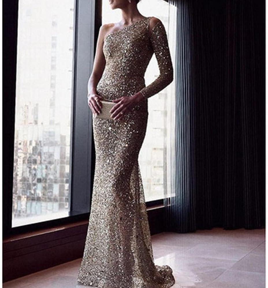 Uongfi Wedding Dresses for Bride One Shoulder Slim Maxi Sequin D