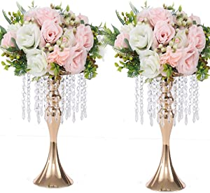 LANLONG 2PCS Acrylic Imitation Crystal Flower Stand Gold/Silver Flower Vase Wedding Centerpiece Lead Road Candlestick for Wedding Event Decoration (Gold, 13