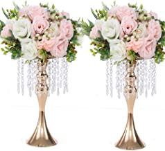 LANLONG 2PCS Acrylic Imitation Crystal Candle Holder Stand Gold/Silver Flower Vase Wedding Centerpiece Lead Road Candlesti...