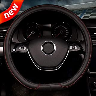 coofig Leather Hand Sewing Fashion, Breathable, Skidproof Car Steering Wheel Cover Universal 15inch (Red, D Type)