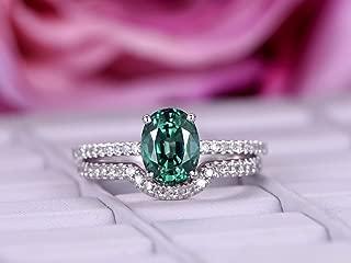 Oval Alexandrite Engagement Ring Set Pave Diamond 14K White Gold 6x8mm