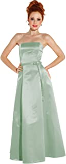 50s Strapless Satin Long Bridesmaid Prom Dress Formal Junior Plus Size