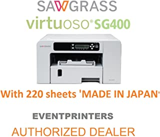 Sawgrass Virtuoso SG400 Sublimation Printer with Sublijet HD Inks (Complete Set) and 220 Sheets of 8-1/2 x 11 Sublimation Paper Eventprinters Brand (Made in Japan). Includes Creative Studio Software.