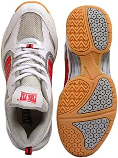 Firefly Men's Performer Indoor Badminton White Shoes with Non Marking Sole P.U Material