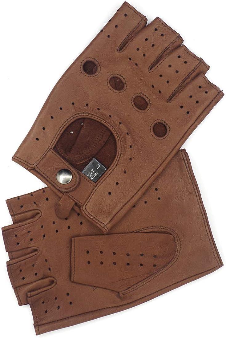 mise /à niveau sans doublure en peau dagneau GM032EU Harssidanzar Gants de conduite en cuir /à demi-doigt sans doigts pour hommes