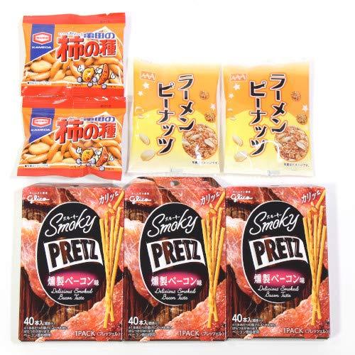 スモーキープリッツ<燻製チーズ>【3コ】&柿の種【2コ】&ラーメンピーナッツ【2コ】セット おかしのマーチ