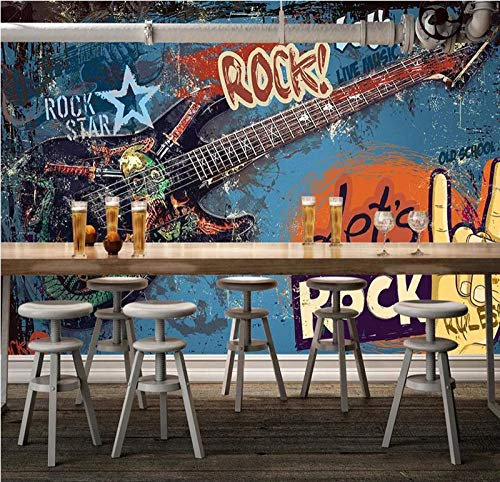 CSZBH Wandbild 3D Selbstklebende Tapete (B) 450X (H) 300Cm Graffiti Gitarre Rockmusik Bar 3D Tapete Wohnzimmer Schlafzimmer Kinderzimmer Büro Tv Hintergrund Tapete 3D Wandbild Wandkunst