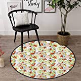 """Floral School Rugs Classrooms 35"""" Round, Rose Burnt Sienna Pale Green, Doodle Style"""