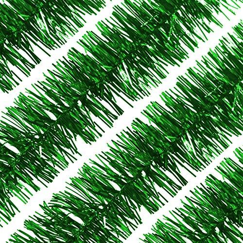 LIHAO 4 Stück Weihnachtsgirlande Lametta Girlande Weihnachtslametta Metallisch Lametta Girlande Glänzend Weihnachtsbaumschmuck für Geburtstag Party, Weihnachten, Dekorationen (Grün)…