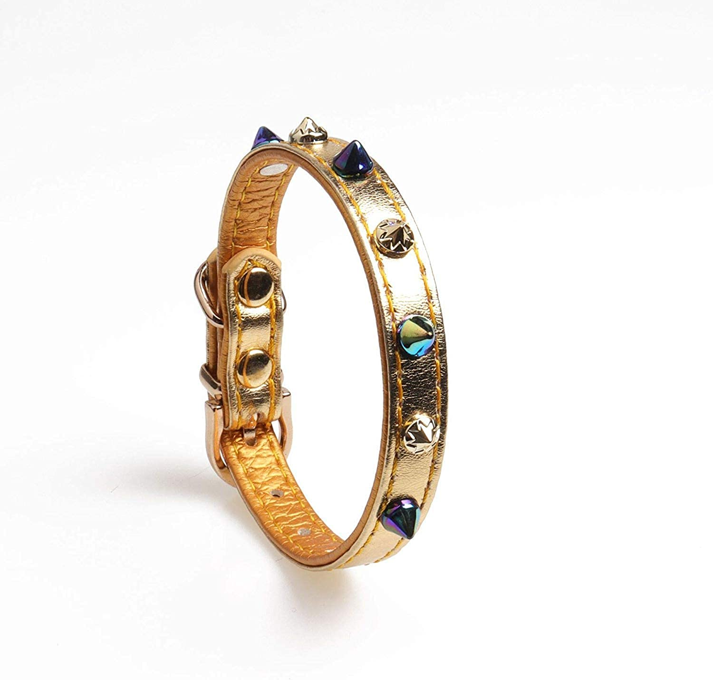 Lindou Pet collar Pet collar colorful rivet with diamond decorative dog collar1.0×22.527.5cm (color   1.0×22.527.5cm)