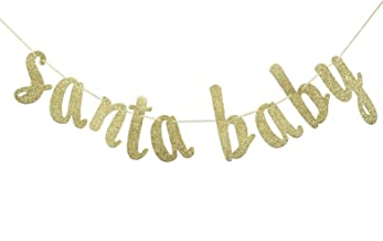 Santa Baby Banner Sign Gold Glitter Decorations for Christmas Winter Baby Shower Gender Reveal Decor Kid's Birthday Neutral Theme Photo Booth Props