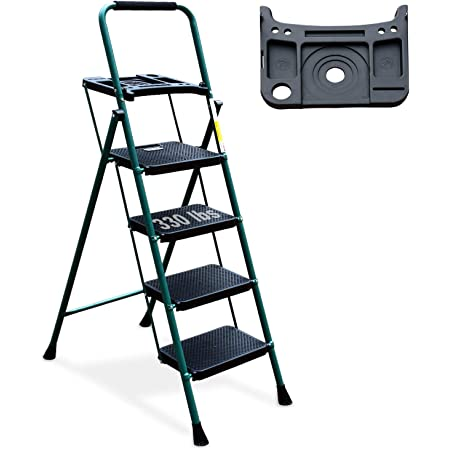 4 Step Ladder, HBTower Folding Step Stool with Tool Platform, Wide Anti-Slip Pedal, Sturdy Steel Ladder, Convenient Handgrip, Lightweight 330lbs Portable Steel Step Stool, Green and Black