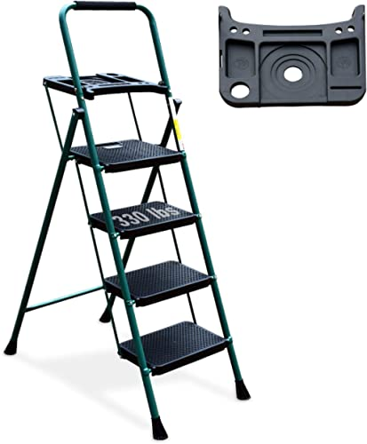 4 Step Ladder, HBTower Folding Step Stool with Tool Platform, Wide Anti-Slip Pedal, Sturdy Steel Ladder, Convenient H...