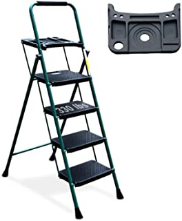 4 Step Ladder, HBTower Folding Step Stool with Tool Platform, Wide Anti-Slip Pedal, Sturdy Steel Ladder, Convenient Handgr...