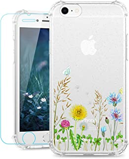 Ruky iPhone 6 Case, iPhone 6s Case Girls Flower Floral Glitter Design Clear Flexible TPU Slim Protective Cover Phone Case ...