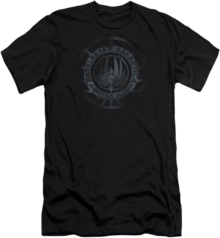 Battlestar Galactica (New  Mens Faded Emblem Premium Slim Fit TShirt