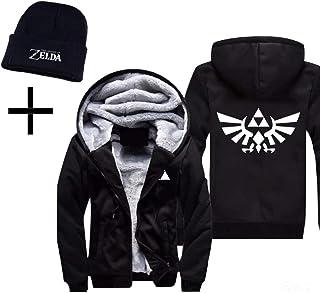 6a049c5cbd SoloBar Legend of Zelda Mens Thicken Hoodie Jacket Fleece Interior Cosplay  Costume Top Plus Free Beanie
