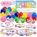 Joinart 12 Pcs Easter Eggs + 24 Pcs Necklaces & Bracelets Toys Easter Egg Fillers Girl Jewelry Set Easter Basket Stuffers Plastic Surprise Eggs Easter Gifts Easter Party Favors for Girls Kids