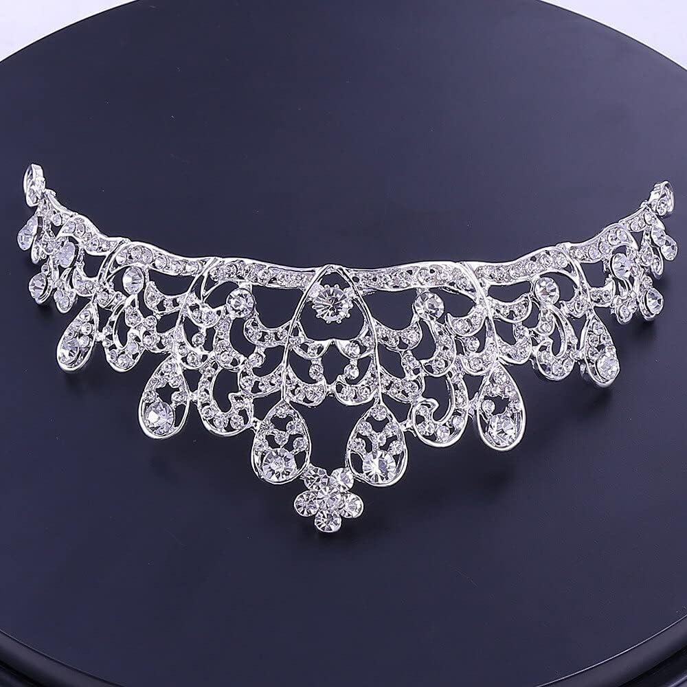 TranTran PTCNNC Women's Classic Wedding Jewelry Set Bridal Jewelry Three-piece Wedding Headdress Crown Necklace Ear Pin Ear Clip Set Earrings