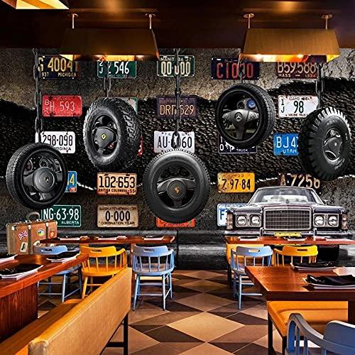 Papel tapiz mural 3D Placa Retro Neumático Cemento Pared Fresco Restaurante Fondo Decoración de la pared Tapety Extraíble Comedor Decoración de la pared del hogar_150cmX105cm
