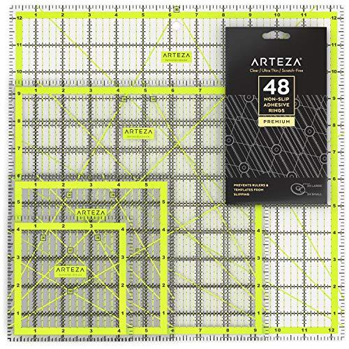 ARTEZA Acryl Patchwork Lineal Set & rutschfeste Ringe, Quiltlineal mit zweifarbigen Gitterlinien (11,43 x 11,43cm, 15,25 x 15,25cm, 24,13 x 24,13cm, 31,75 x 31,75cm, 4er Stofflineal Set)