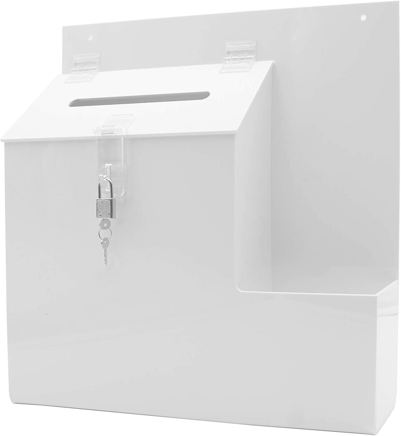 """Marketing Holders 配送員設置送料無料 13""""W White Ballot Locking Mount with 格安 Box Wall"""