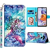 JanCalm LG Stylo 6 Case Wallet, 3D Pattern PU Leather [Wrist Strap][Card/Cash Slots][Kickstand Feature] Flip Folio Cover Designed for LG Stylo 6 Phone Case 2020 (Never Stop)