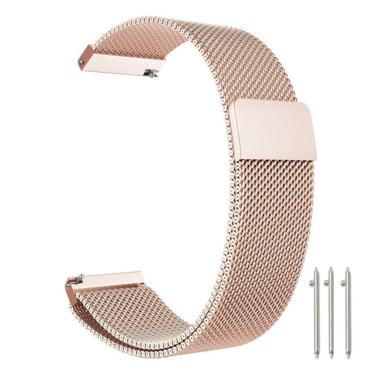 Cooldot Compatible with Fossil Band, 18mm Stainless Steel Loop Mesh Metal Strap, Replacement for Fossil Gen 4 Q Venture HR/Gen 3 Q Venture Smartwatch (18mm,Rose Gold)