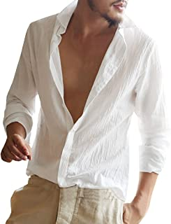 Mens Button Up Shirts Linen Beach Long Sleeve Casual Cotton Summer Lightweight Tops
