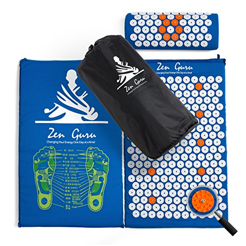 ZenGuru Best Acupressure Mat & Pillow Set - Effective Remedy for Pain and Stress Relief - with Magnet Therapy - Includes Carry Bag & Reflexology Foot Chart (Blue)