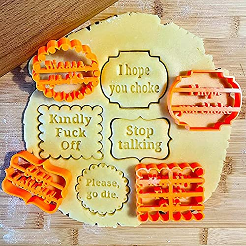 AFXOBO 4 Pcs Cookie Molds, With Good Wishes Chocolate Cake Molds Cookie Cutter Letters And Shapes Cookie Baking Tools Accessories