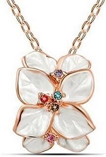 Karatcart 22K GoldPlated White Flower Shaped Enamel Pendant for Women