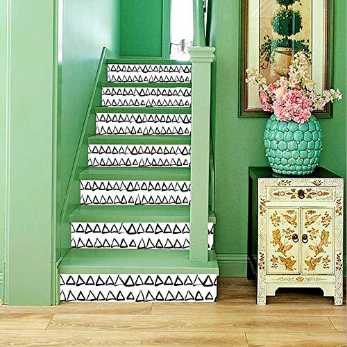 Byrhgood 6pcs / Pack Negro Blanco Mosaico azulejo Pared Escalera Pegatinas Autoadhesivo Impermeable PVC Etiqueta de Pared de la Pared de la Etiqueta de cerámica decoración del hogar (Color