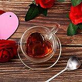 Taza de Café de Vidrio Forma de Corazón Taza de Café Aislada de Doble Pared Taza de Té Capuchino Transparente de 180 ml, 6 oz con Platillo y Cucharas de Café Forma Corazón para San Valentín