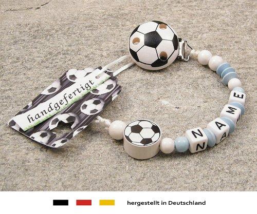 kleinerStorch Baby SCHNULLERKETTE mit Namen - Motiv Fussball in Babyblau